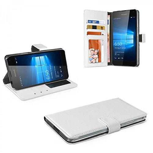 eFabrik Tasche für Microsoft Lumia 650 Hülle Case Cover Schutztasche Schutzhülle Leder-Optik weiß