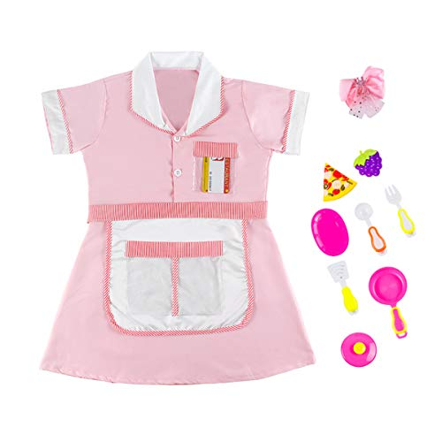 Besonca 11PCS Complete Kids Chef Play Costume Set Cooking Baking Cosplay with Kitchen Dress Apron Headwear Kitchenware Toys Dress up Outfit for Girls
