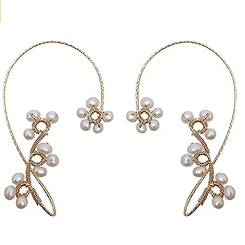 ZXZCHGN 1 par de envolturas de orejas, pendientes de la oreja vintage, alrededor del gancho de la oreja, pendientes de diseño de perlas de cristal elegante, manguito de oreja sin perforación para muje