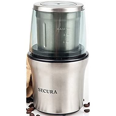 Secura Electric Coffee Grinder & Spice Grinder with 2 Stainless-Steel Blades Removable Bowl (1-Year Warranty)