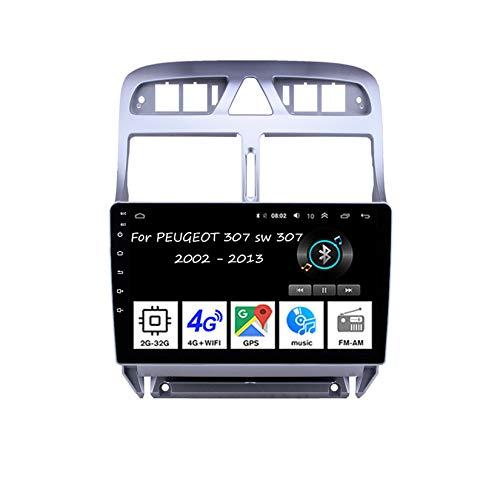 Autoradio Coche 9 Pulgadas Pantalla Tactil Car Radio Navegación GPS 4core 2G+32G para Peugeot 307 sw 307 2002 - 2013Accesorios de Coche Conecta y Reproduce Mandos De Volante