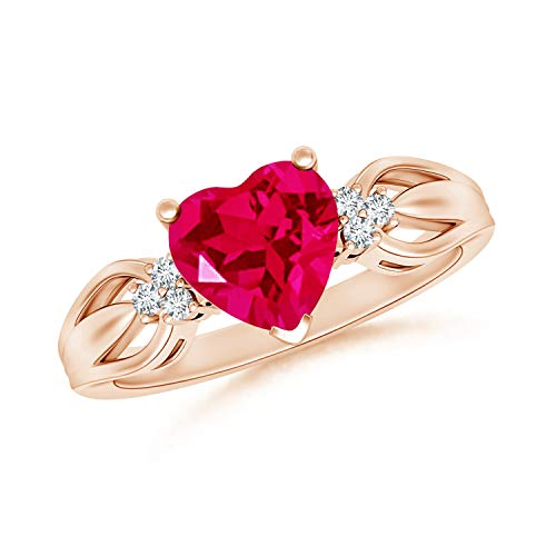 July Birthstone- Split Shank Lab-Created Heart Shaped Ruby and Lab Grown Diamond Ring in 14k Rose Gold Ring Size 5.5