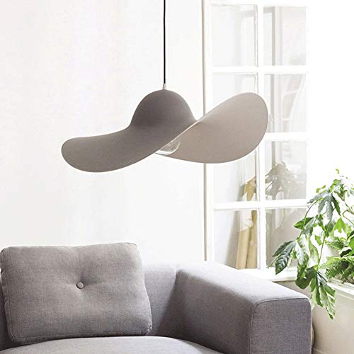 Sospensione cappello di paglia lampadario moderno, lampadario a sospensione a LED in fibra di Vertigo pasti Lounge bar Lights Of Coffee Hut Hanging ombra (Colore : Grigio)