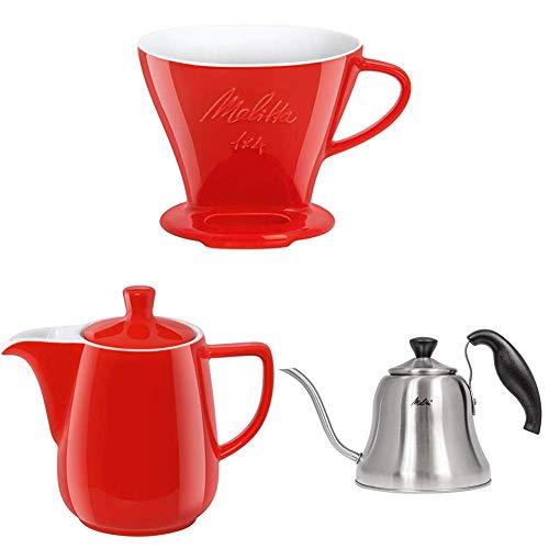 Melitta 219032 Filter Porzellan-Kaffeefilter + 219094 Kanne Porzellan Kaffeekannee + Handbrüh-Wasserkessel mit Schwanenhalsausguss