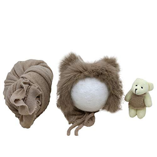 DaMohony 3 Stück Baby Baby Fotografie Prop Wrap Flauschigen Hut Bär Puppe Set Neugeborenen Foto Requisiten Outfits
