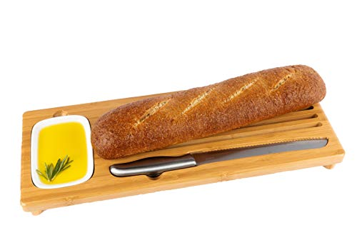 NEW Sweep Off BAMBOO Baguette Board, bread cutting board with bread crumb catcher, ceramic Dipping Dish/Olive Oil Dis & large BREAD KNIFE Full loaf cake/bread cutting kit. New home gift HOUSEWARMING