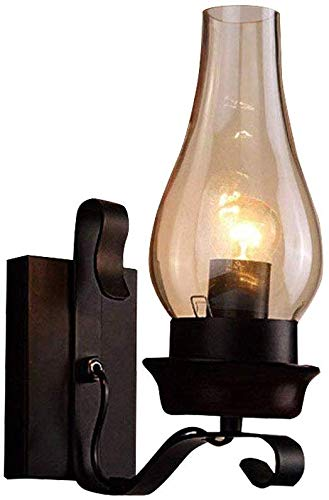 Carl Artbay Beautiful Home Decoration Lamps Retro Wall Linghts Black A Light Metal wandlamp met glas open haard Cafe Shade E27 * 1 Single Head wandlamp
