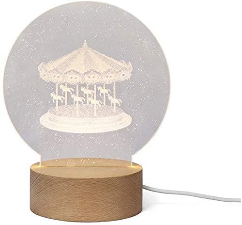 SYunxiang Carrusel 3D Noche luz arílica de Madera lámpara lámpara luz luz USB Alimentado 3D lámpara llevó Luces Noche Linda carrusel Forma luz de Noche para niños