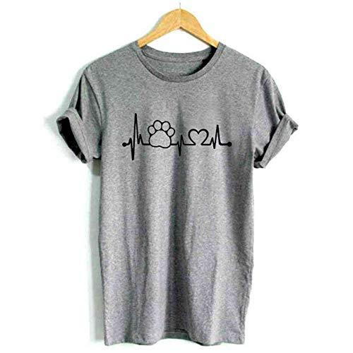 XIAOBAOZITXU Lifeline Women T Shirt Shirt Décontracté pour Unisexe Lady Girl Hipster Gris XL