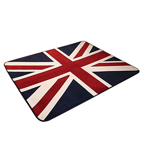 MinegRong rétro épaissir Tapis British British Drapeau Anglais Character Salon Tapis de Table de Chevet Chambre à Coucher Tapis,Couverture 50 * 80