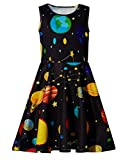 Ahegao 8-9 Years Old Summer Outfit Clothes Girls Floral Dresses for Wedding Party Teenager Cute Planets Round Neck Skirts Size L