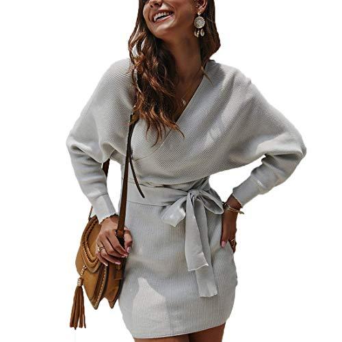 Tomwell Pulloverkleid Damen Elegant Kleid Lange Ärmel Polka Dots Leopard Strickkleid Etuikleid Pulli Partykleid Stiefelkleid Abendkleider V-Ausschnitt Kleid Langarm Minikleid Mit Gürtel A Grau XS