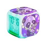 QCNZ1 Teen Alarm Clock Kids Girls Boys LED Digital Bedrooms Alarm Clock Easy Set Clocks with Pattern 165.Cute Kawaii Panda Bear Animal Rice Chopsticks Alarm Clock Desk Bedrooms Decor