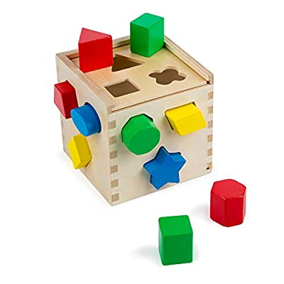 Melissa & Doug Shape Sorting Cube Classic Wooden Kids Toy - The Original (Sturdy Wooden Construction, 12 Pieces, Great Gift for Girls and Boys - Best for 2, 3, and 4 Year Olds)