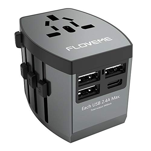 All in One Universal Travel Adapter, FLOVEME W/High Speed 3 USB Charging Ports + Type C USB Wall Charger,Perfect International Travel Adapter and Converter,Worldwide AC Outlet Power Plug Adapters,Gray