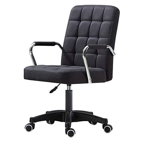 Qinmo Las sillas de escritorio con ruedas de oficina/apoyabrazos Moderno PU Silla Midback Presidente Ejecutivo ajustable ordenador personal en las ruedas 360 ° Giro (Color : Black, Size : B)