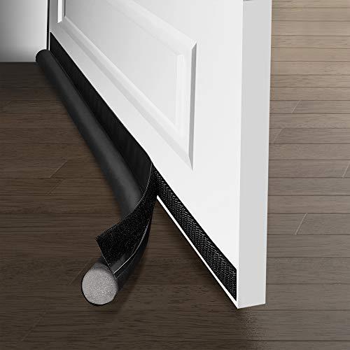 Ewolee Door Draught Excluder, 37in 95cm Removable Draft Excluder for Door Bottom, Soundproof Door Draft Blocker Self-Adhesive Weather Stripping Door Seal Strip (Black)