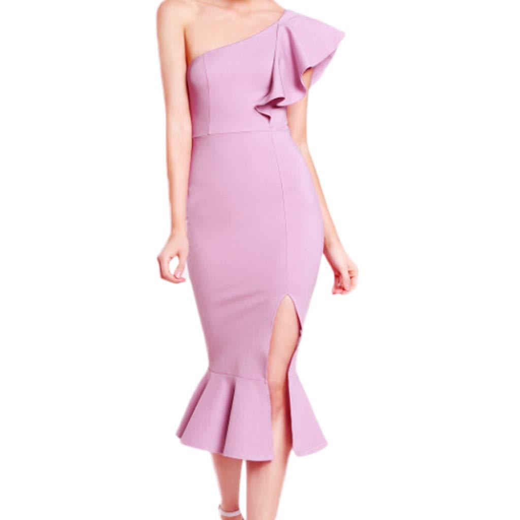 Emerayo Women/'s Party Pencil Gown Women/'s Polk Dot V Neck Long Flare Sleeve Bodycon Dress Cocktail Prom Dress