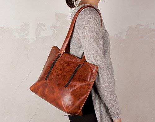 Bolso de Hombro cuero cognac, bolso marron, bolso artesanal
