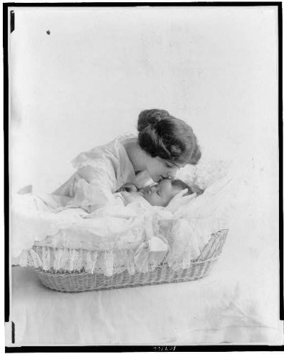 Fantastic Prices! HistoricalFindings Photo: Young Woman Kissing Baby,Bassinet,Mothers,Children,Infan...