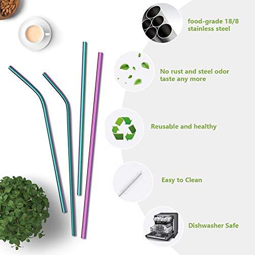 4PCS Reusable Metal Straws,8.5