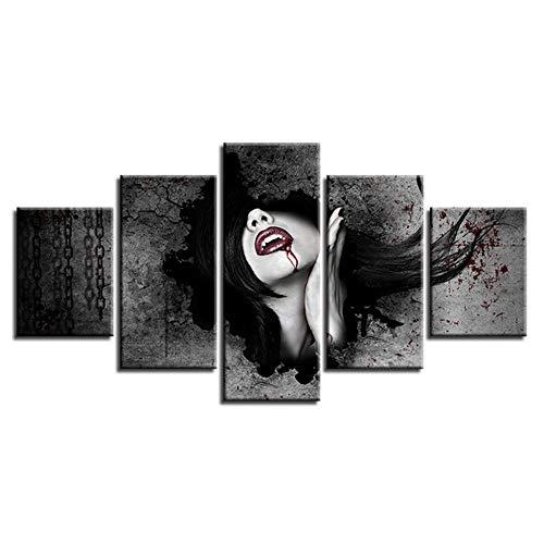 SHANYUR Pintura de la Pared La Impresión de la Imagen en la Lona Decoración Moderna Pintura La Pintura artística 5 Fotos Cuadro En Lienzo Tejido Vampire 100/80/60x40(cm) with Frames