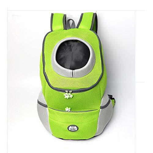 Outdoor Pet Cat Dog Front Backpack Carrier Travel Bag Bleathable Mesh Pet Double Shoulder Backpack Carrying Shoulder Pack Puppy Cat Carrier (Color : Green, Size : XL)
