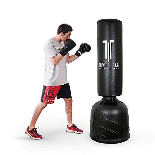 Combat Arena Training PRO Sacco da Boxe da Terra con Base Professionale. Regolabile in 4 Altezze (Tower Bag Nero Bianco)