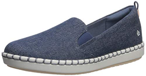 Clarks womens Step Glow Slip Loafer Flat, Denim Textile, 5.5 US
