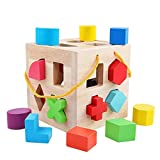 QZMTOY Big Shape Sorter Toys with 19 Colorful Wood Geometric Shape Blocks and Sorter Sorting Cube Box Classic Wooden Developmental Toy for Preschool Toddlers Girl Boys Birthday Gift
