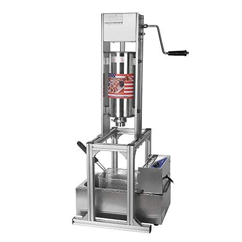 Máquina de churros manual comercial española donuts con 6L freidora - 5 tipos de formas de churro