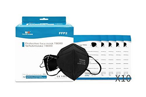 TAI DA KANG Maske FFP2 NR Zertifiziert, Schwarz, 10 Einheiten, CE1463 EN 149:2001 + A1:2009