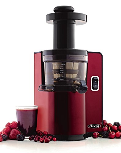 Omega Vertical Slow Masticating Juicer Makes Continuous Fresh Fruit and Vegetable Juice at 43 Revolutions per Minute Features Compact Design Automatic Pulp Ejection, 150-Watt, Red