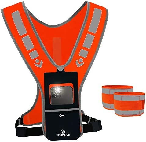 BUMOVE Safety Reflective Running Gear Vest Belt for Night Cycling Walking Hiking with Phone product image