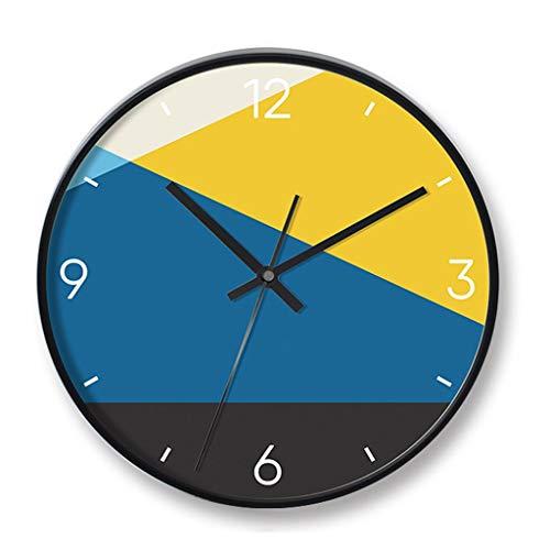 SMEJS De Forma Redondeada, Relojes de marcación Modernos, Reloj de Pared del Reloj de Pared silencioso de Barrido, de 12 Pulgadas de Metal Reloj de Cuarzo