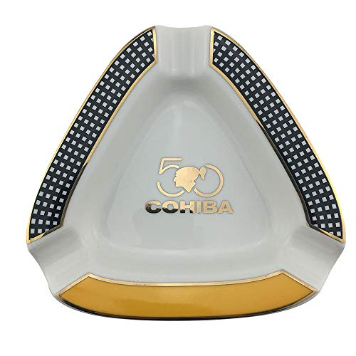 GUEVARA Cigar Ashtray Triangle Montecristo - Large Rest Unbreakable Outdoor Cigars Ashtray for Patio/Outside/Indoor Ashtray (White)