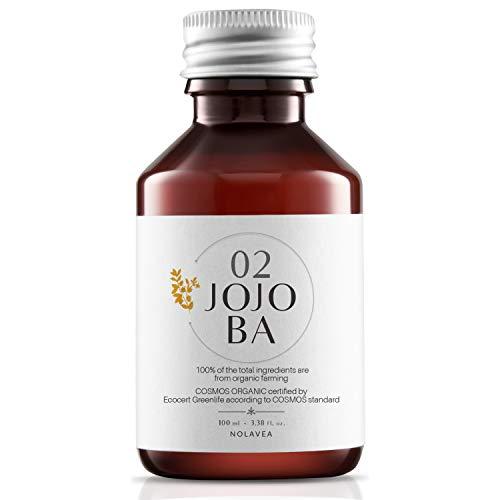 Nolavea Huile de Jojoba 100% Végétale - 100 ml - Huile Bio et Vegan Pressee à Froid et Vierge - 1ere Pression - Soin Visage et Serum Cheveux - Régule, Hydrate, Nourrit et Adoucit