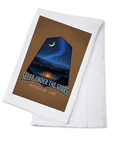 Moosehead Lake, Maine - Sleep Under the Stars - Tent and Night Sky - Contour 103737 (100% Cotton Kitchen Towel)