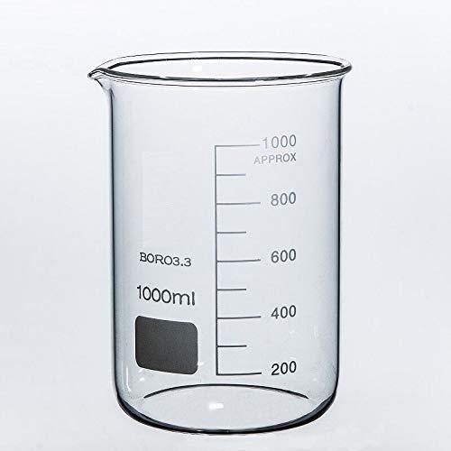 Rocwing - Borosilicato 3.3 Vaso de Vidrio Graduado para Uso en Química Médica de Laboratorio (1L)