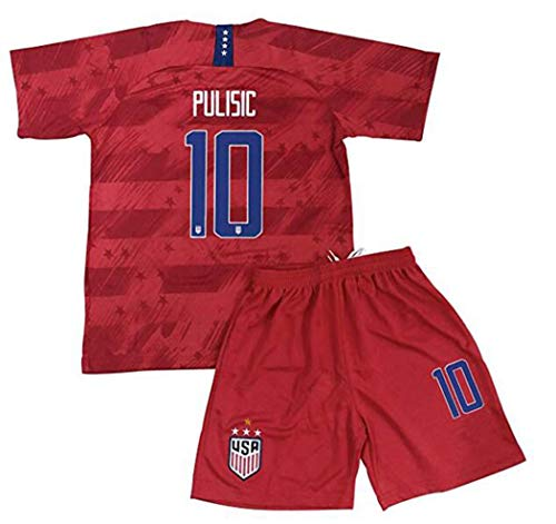 2019/2020 4 Star USA Team 10 Pulisic Soccer Away Kids/Youths Jersey T-Shirts & Shorts Color Red Size24