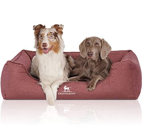 Knuffelwuff Orthopädisches Hundebett Velours wasserabweisend in handgewebter Materialoptik Malou XL 105x75cm rot