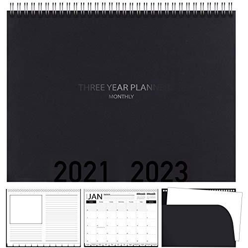 Calendario planificador de 3 años, 2020-2022 planificador mensual con pestañas y tapa en espiral, negro, 8.5 x 11 pulgadas