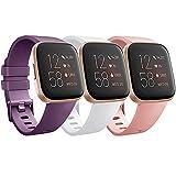 Yandu Cinturino Compatibile per Fitbit Versa 2, Cinturino Sportivo di Ricambio per Fitbit Versa 2/Versa Lite (04 Violetto+Bianca+Rose, S)