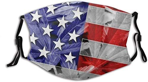 Bandera de Estados Unidos en Cannabis Hoja de Marihuana Filtro de polvo lavable reutilizable y boca reutilizable cálido a prueba de viento de algodón cara