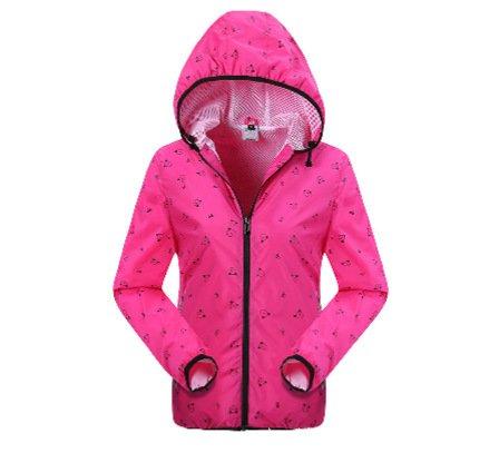 Chuangyi Manteau extérieur de la Peau féminine Nouvelle imperméable et Respirant à Manches Longues à séchage Rapide Manteau en Peau UV équitation, Red, l