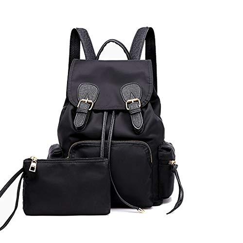 Baruyo Modieuze reisrugzak voor dames, schoudertas van nylon, diefstalbeveiliging, waterdicht, licht, nonchalant, 2 stuks, Blanco Y Gris (zwart) - gzm-28680