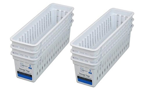Mainstays Slim Plastic Storage Trays Baskets in White- Set of 6