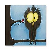 INOV オリバー·ザ·フクロウとテントウ アートフレーム キャンバス絵画 インテリアパネル インテリア絵画 壁飾り木枠セット Arts 新築飾り 贈り物