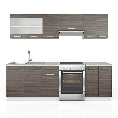 Vicco Küche Raul Küchenzeile Küchenblock Einbauküche 240 cm Edelgrau Anthrazit- Frei Kombinierbare Einheiten