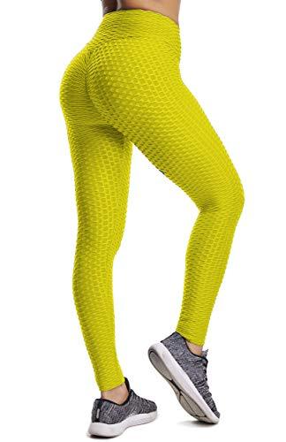 FITTOO Leggings de Sport Anti-Cellulite Femme Pantalon de Fitness Collant de Compression Taille Haute Slim Push Up Butt Lifter Pants Yoga pour Gym Jogging, Jaune, S